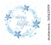 winter wreath and hand drawn...   Shutterstock .eps vector #565625959
