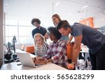 multiethnic startup business... | Shutterstock . vector #565628299