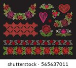 set elements embroidery ... | Shutterstock .eps vector #565637011