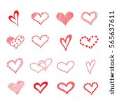 hand drawn hearts. design... | Shutterstock .eps vector #565637611