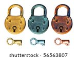 Antique Padlocks in different roughed metal surface with three key below. Isolated elements over white background. - stock photo