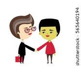 a caucasian businessmen shakes... | Shutterstock .eps vector #565640194