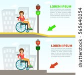 young woman in a wheelchair on... | Shutterstock .eps vector #565640254