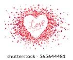 vector pink hearts confetti... | Shutterstock .eps vector #565644481