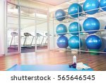 gym with fitness equipment and... | Shutterstock . vector #565646545