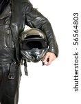 Motorcycle Biker With Helmet...