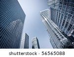 Toned picture of Canary Wharf, London. - stock photo