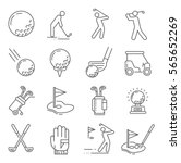 set of golf related vector line ...