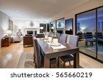 grey tones dining space is...   Shutterstock . vector #565660219