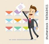 businessman put document in one ... | Shutterstock .eps vector #565663411