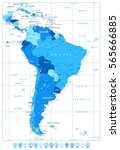 detailed map of south america... | Shutterstock .eps vector #565666885