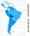 detailed map of south america...   Shutterstock .eps vector #565666891