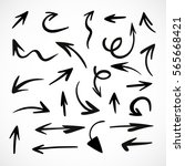 hand drawn arrows  vector set | Shutterstock .eps vector #565668421