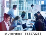 concentrated business people... | Shutterstock . vector #565672255