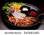 dried squid with peanut  ... | Shutterstock . vector #565681681