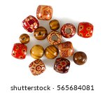 Colorful Wooden Beads Isolated...