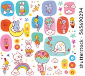 baby animals seamless pattern | Shutterstock .eps vector #565690294