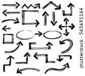 hand drawn arrows vector set.... | Shutterstock .eps vector #565691164