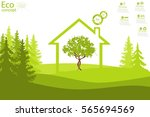 the tree inside the house on... | Shutterstock .eps vector #565694569