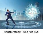 businessman pulling question...   Shutterstock . vector #565705465