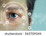 young man's eye and technology...   Shutterstock . vector #565709344