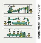 line art conveyor system in... | Shutterstock .eps vector #565719949
