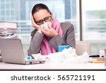 young businesswoman sick in the ... | Shutterstock . vector #565721191