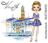 Vector Cute Fashionale Girl In...