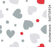 seamless hearts and dots... | Shutterstock .eps vector #565735924