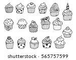set of cupcake doodle   Shutterstock .eps vector #565757599