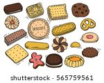 set of biscuit doodle isolated... | Shutterstock .eps vector #565759561