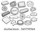 set of biscuit doodle isolated... | Shutterstock .eps vector #565759564