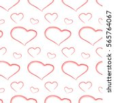 simple hearts pattern with many ... | Shutterstock .eps vector #565764067