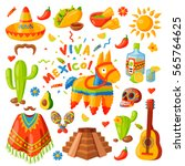 mexico icons carnival holidays... | Shutterstock .eps vector #565764625