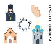 religion icons vector... | Shutterstock .eps vector #565774861