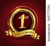celebrating 1st golden... | Shutterstock .eps vector #565777291