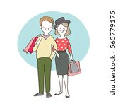 couple love in shopping day ... | Shutterstock .eps vector #565779175