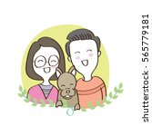 couple in love with dog  hand... | Shutterstock .eps vector #565779181