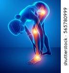3d illustration of pain in leg   Shutterstock . vector #565780999