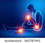 3d illustration of pain in leg | Shutterstock . vector #565787491