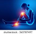 3d illustration of pain in leg | Shutterstock . vector #565787497