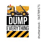 garbage truck and dump... | Shutterstock .eps vector #565789171