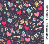 vector pattern with hand drawn... | Shutterstock .eps vector #565801609