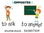 opposite wordcard for ask and... | Shutterstock .eps vector #565807309