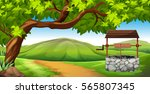 scene with stone well in the... | Shutterstock .eps vector #565807345