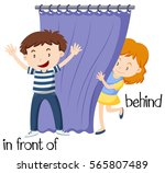 opposite words for in front of... | Shutterstock .eps vector #565807489