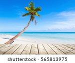 empty wooden pier on caribbean... | Shutterstock . vector #565813975