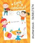 children having fun at birthday ... | Shutterstock .eps vector #565817374