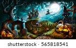 halloween night mystery... | Shutterstock . vector #565818541