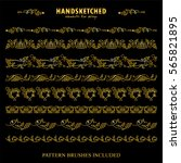 Vector Set Of Pattern Brush Or...